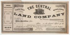1869 Stock Certificate Central Land Company of San Francisco CA Dog Vignette