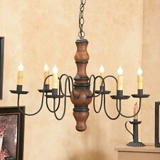 PRIMITIVE CHANDELIER Wood Metal CANDELABRA Rustic Colonial Country Ceiling Light