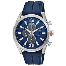 Mens Citizen Eco-Drive Blue Rubber Blue Dial Chronograph Sport Watch CA0661-01L