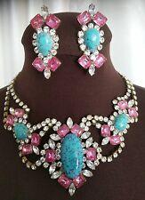 Vintage Czech Republic Signed Bijoux M.G Handmade Rhinestone Necklace /Earrings
