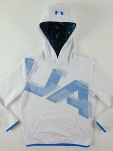 Under Armour UA Logo White Boys Youth Medium Loose Hoodie Sweatshirt Coldgear