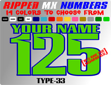 CUSTOM 2 COLOR NAME MOTORCYCLE NUMBER PLATE RACING DECALS STICKERS WR YZ RM ATV