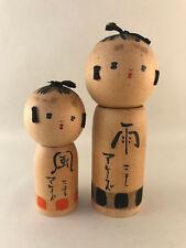 2 x Japanese Kokeshi Dolls - 8-10cm each - Authentic Handmade Wooden Doll Japan