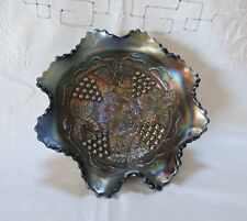 Rare Northwood Carnival Glass iridescent Blue Grape & Cable Footed Ruffled Bowl