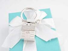 TIFFANY & CO SILVER HOUSE KEYCHAIN KEY RING CHAIN RARE BOX INCLUDED