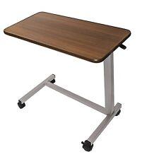 Overbed Bed Side Table Adjustable Medical Hospital Home Rolling Wheels Breakfast