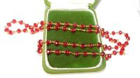 """Vintage Ruby Red Faceted Crystal Glass  26"""" Wired Gold Necklace 4j 11"""
