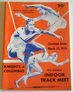 1959 Program KNIGHTS COLUMBUS INDOOR TRACK MEET Cleveland OH WILLY MAY Dave Mill
