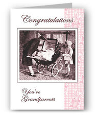 Congratulations You're Grandparents Greeting Card - New Baby Colourful Past