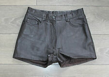 "Brown Soft Leather BLUE RINSE High Waist Biker Hot Pants Shorts Size W30"" L1"""