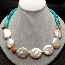 "20"" Freshwater White Keshi Pearl Blue Turquoise Necklace Women"