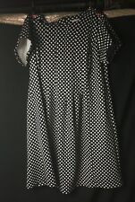 Shelby & Palmer Women's Polka Dot Dress - Cap Sleeves Black White - Size 16W