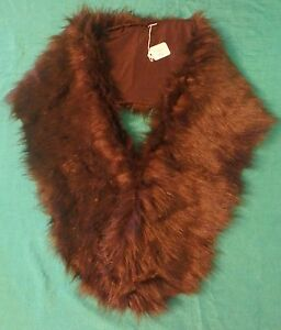 Long Brown Faux Fur Stole with Brown Nylon Lining for Child or Large Doll FSGC42