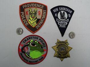 4 Lot RHODE ISLAND POLICE PROVIDENCE CRANSTON SHOREHAM FEDERAL TRIBAL K-9 patch