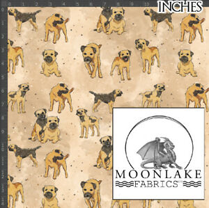 Border Terrier, Sketch n Painted, 100% Quality Cotton Poplin Fabric *Exclusive*