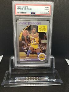 1990 HOOPS MAGIC JOHNSON #157 PSA 9 MINT LOS ANGELES LAKERS GOAT ICON -NEW LABEL