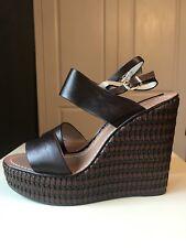 DUNE Ladies Women Brown Leather Women Platform Sandal Wedge Shoe Size 7 40