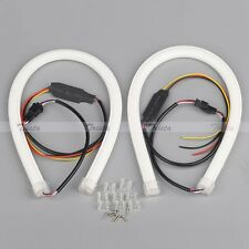 2x85cm Flexible Soft Tube Guide Car LED Strip White DRL&Amber Turn Signal Light