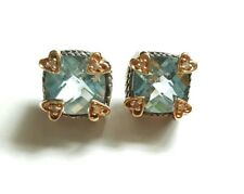 12mm Earrings 10mm Swiss Blue Topaz 14k 925 Sterling Silver Heart Diamond Prongs
