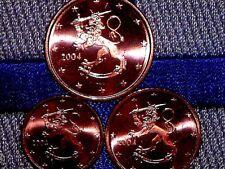 Finland 2004 Lot de 3 pieces Neuve 1,2,5 Cent Ct Euro Finlandia Top Qualite Unc