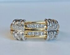 Vintage Style 14k 2 Tone Solid Gold & Diamonds Ladies / Womens Band Ring