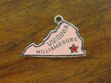 New listing Vintage sterling silver Pink Virginia State Map Enamel charm Rare One Of A Kind