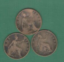 3 oude munten van Engeland in het brons van het jaar 1900 // 1896 // 1875 ,,zie