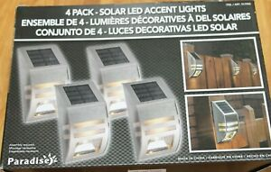 PARADISE 4 Pack Solar Powered Led Accent/Security Light stainless steel