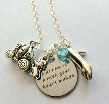 "Cinderella ""A dream is a wish your heart makes"" necklace jewelry crystals USA"