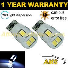 2x W5W T10 501 Errore Canbus libero BIANCO 6 SMD LED Luce Laterale Lampadine Bright sl104003