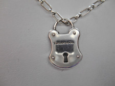 Tiffany &Co Silver Padlock Arc Lock Rare Pendant Vintage Rectangle Link Necklace