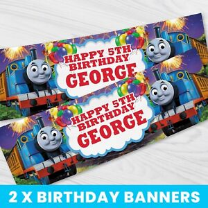 Personalised Thomas The Tank Engine Banner - Children Party Banner x 2 - BB070