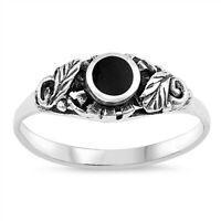 Sterling Silver Black Onyx Leaf Ring - Free Gift Packaging