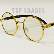 Vintage Wood Buffs Migos Design Eye glasses Round Gold Frame Clear Lens Glasses