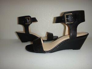 NINE WEST Women's Open Toe Wedges Ankle Strap Sandals Black Leather US Size 8, 9