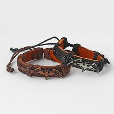 1pcs Black/Brown Carved Bat Charms Genuine Leather Bracelet Surfer Men's Gift