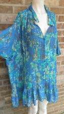Women's Only Necessities Multi color Pleated Short Sleeve Top  blouse Plus sz 4X