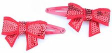Zest 2 Sequin Bow Christmas Hair Slides Red