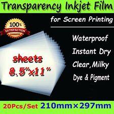 20 Sheets Waterproof 8.5'' x 11'' Inkjet Transparency Film Silk Screen