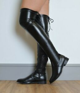 Ladies Thigh High Over The Knee Boots Women stretch Flats Calf Riding Shoes Size