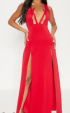 Pretty little thing red pointy extreme split maxi dress Size 6 PLT 105