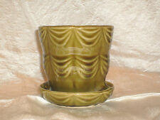 VINTAGE BRUSH USA OLIVE GREEN FLOWERPOT with ATTACHED SAUCER #328-4 SWAG DESIGN