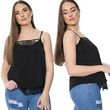 Womens Lace V Neck Sleeveless Tank Top Crop Cami Vest T-Shirt Lace Frill Blouse