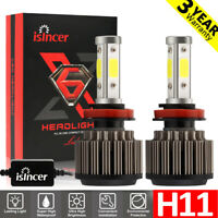 4-Side H11 H8 H9 LED Bulb Headlight Kits High Power 6000K 2000W 300000LM Canbus