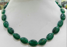 """Natural Egg-shaped 13x18mm Green Beryl Gems Oval Beads Necklace 18"""""""