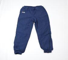Vintage 90s Diadora Mens Medium Spell Out Lined Nylon Soccer Joggers Pants Blue
