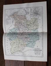 1850 Carte Géographique Atlas époque couleur Département 35 Ille et Vilaine