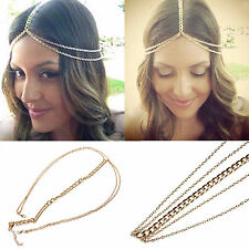 Naida Bohemian Gold Hair Head Chain Boho Headpiece Headband Hippie Festival