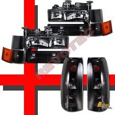 94-98 Chevy Suburban Silverado C10 CK Black Headlights & Tail Lights Dark Smoke