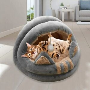 Cat Bed Kitten Lounger Cat House Fleece Cozy Nest Washable Cave Semi-Enclosed be